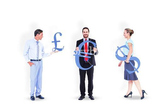 Business people holding money symbols