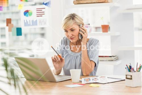 Businesswoman using laptop while on the phone