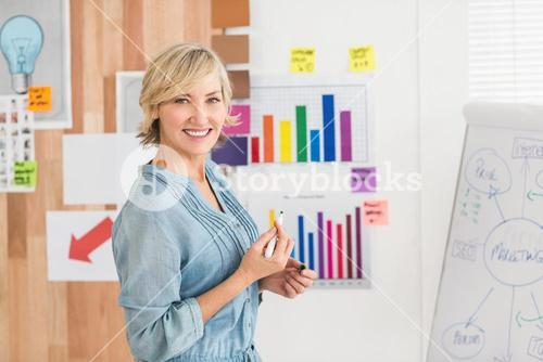 Smiling businesswoman writing on a white board