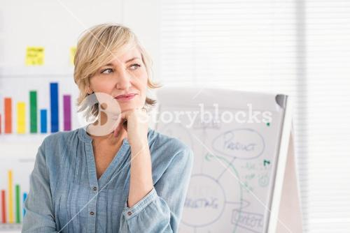 Thoughtful businesswoman in front of a white board