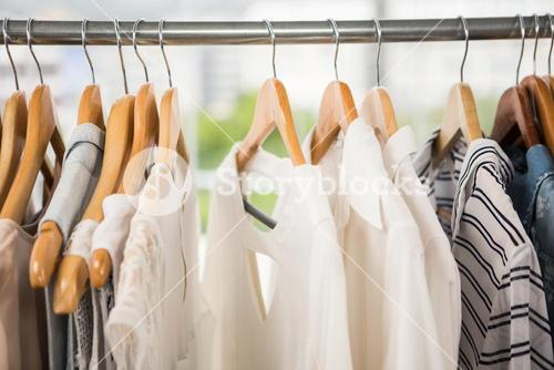 Clothes on clothes rail