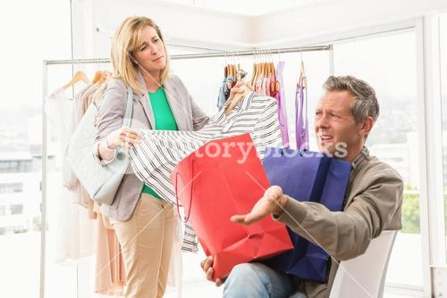 Man complaining about his shopping woman
