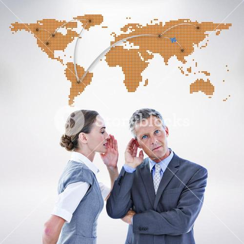 Composite image of gossiping business team