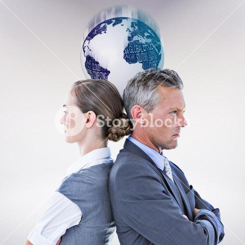 Composite image of business team not talking to each other