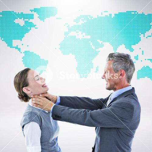 Composite image of business team fighting