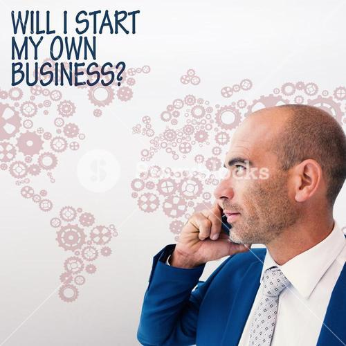 Composite image of businessman calling on the phone