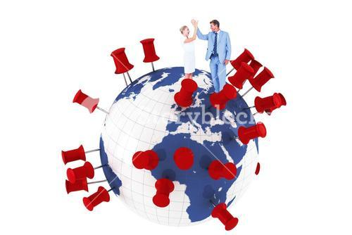 Composite image of businessman and businesswoman greeting each other