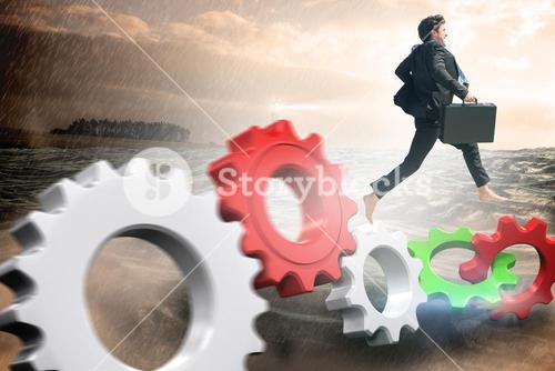 Composite image of businessman jumping