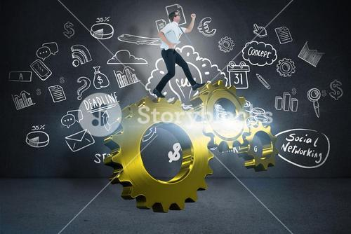 Composite image of geeky businessman running late