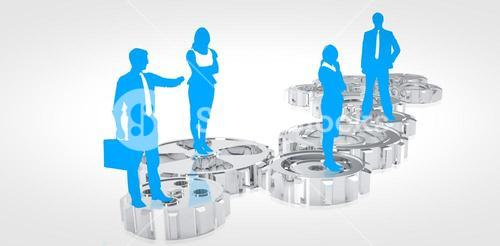 Composite image of blue business silhouette