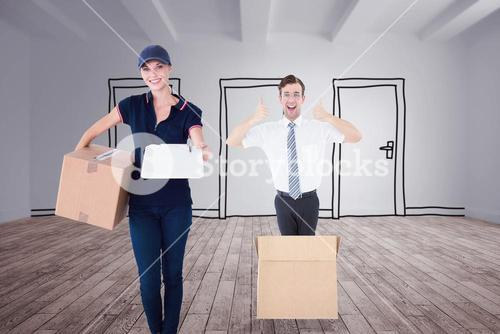 Composite image of happy delivery woman holding cardboard box and clipboard
