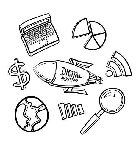 Marketing icons hand drawn vector