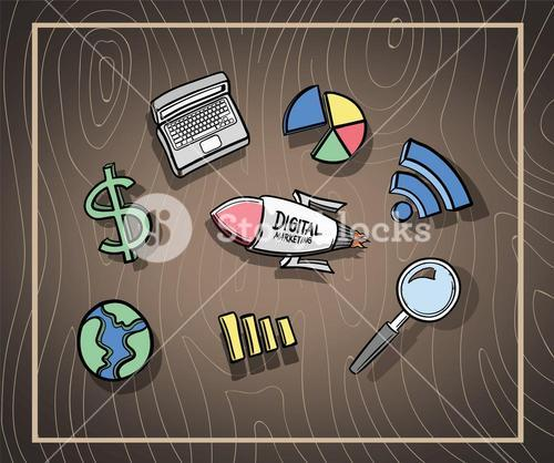 Coloured digital marketing icons vector