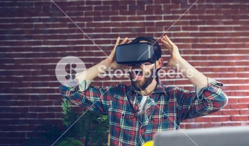 Shocked editor using 3D video glasses