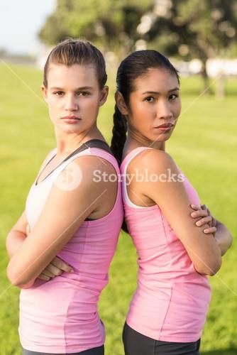 Two women wearing pink for breast cancer