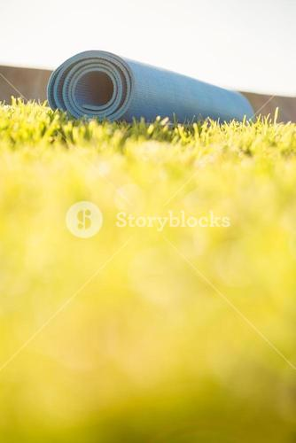 Exercise mat lying on the grass