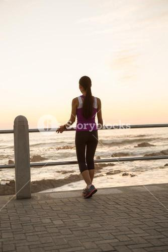 Rear view of fit woman standing at railing