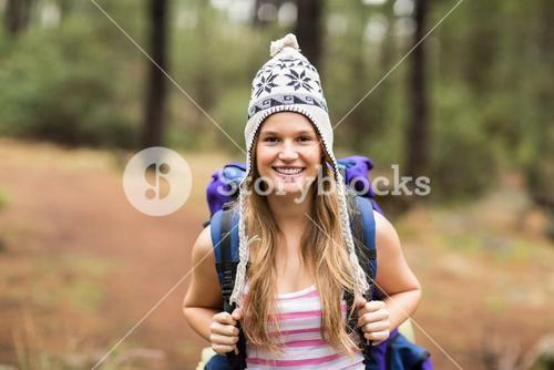Portrait of a young happy hiker