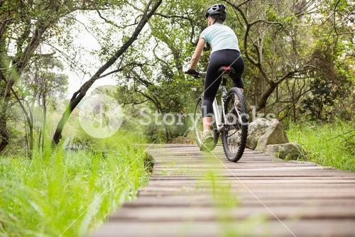 Rear view of a fit woman cycling her bike