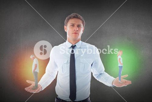 Composite image of unhappy couple not speaking to each other
