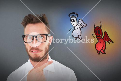 Composite image of geeky young businessman looking at camera and pointing