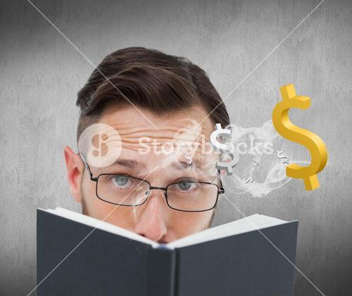 Composite image of young geek looking over black book