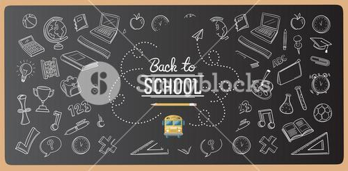 Chalk drawn back to school icons vector