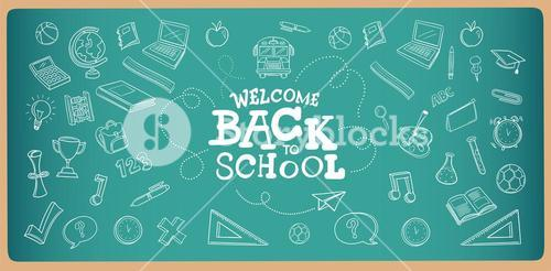 Chalk drawn welcome back to school icons vector