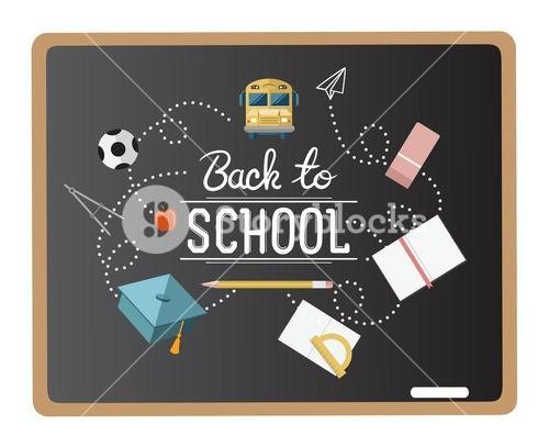 Back to school message surrounded by icons vector