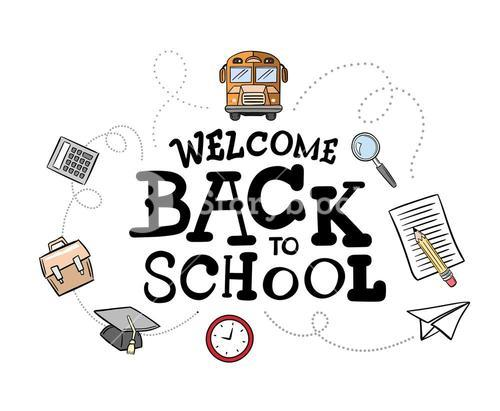Welcome back to school message surrounded by icons vector