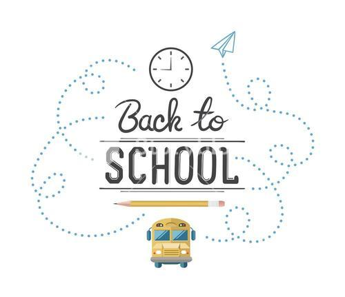 Back to school message with education icons vector