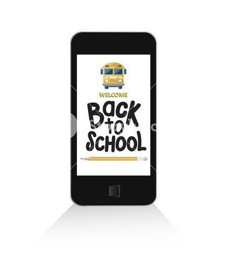 Smartphone with back to school message vector