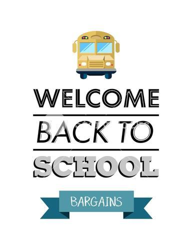 Welcome back to school message with bargains banner vector