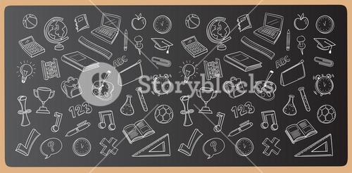 Chalk drawn education icons vector