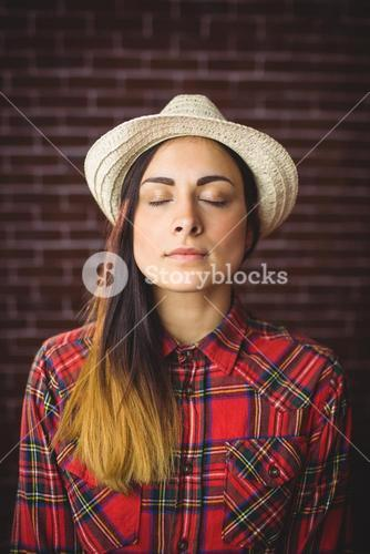 Beautiful hipster with eyes closed