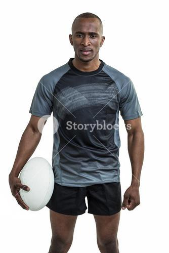 Portrait of confident rugby player