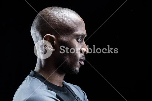 Profile view of rugby player