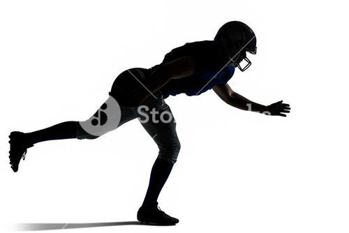 Silhouette American football player jumping
