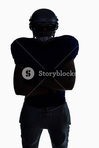 Silhouette American football player standing