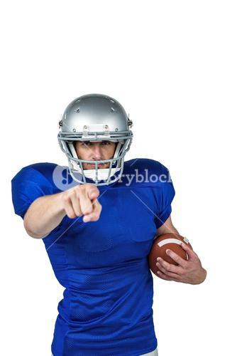 Portrait sports player pointing