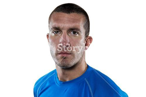 Portrait of serious rugby player