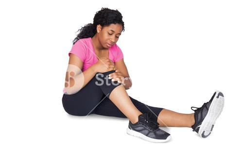 Fit woman with knee injury