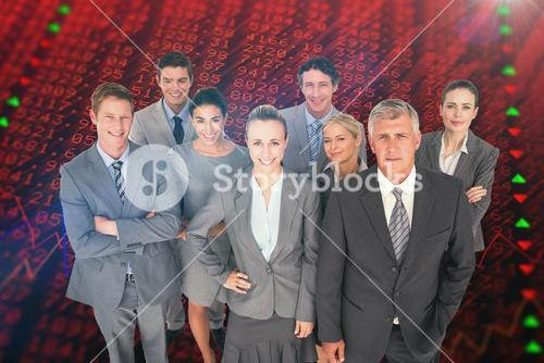 Composite image of smiling business people smiling at camera