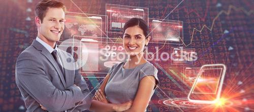 Composite image of smiling business colleagues smiling at camera