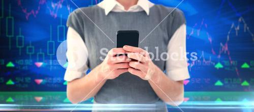 Composite image of businesswoman texting
