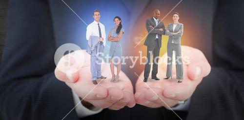 Composite image of businessman and a woman with their hands crossed