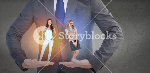 Composite image of geeky hipster woman smiling at camera