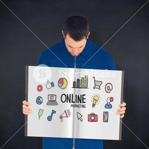 Composite image of manual worker showing a book