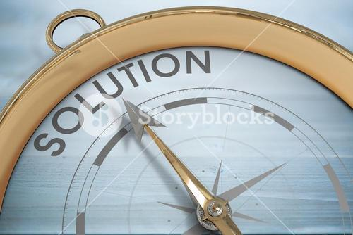 Composite image of compass pointing to solution