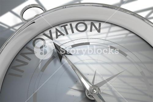 Composite image of compass pointing to innoavtion